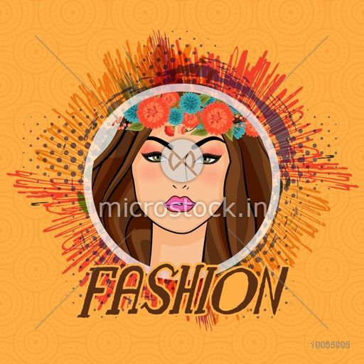 Young beautiful girl wearing wreath for Fashion on abstract vintage background.