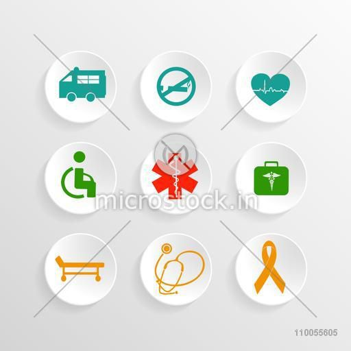 Set of glossy colorful symbols for Health and Medical concept.