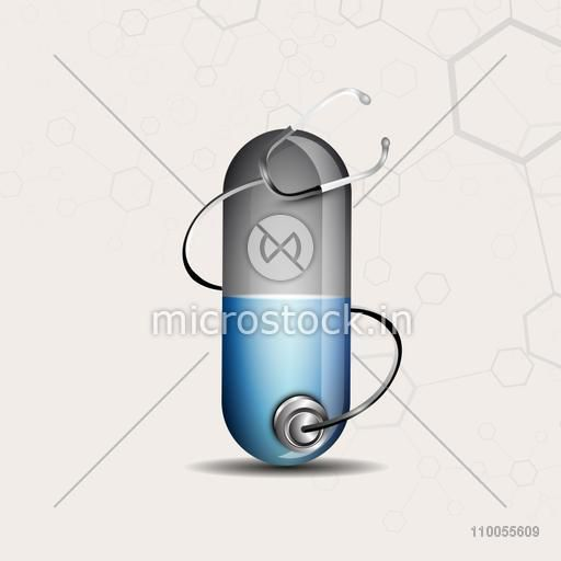 Structure of a shiny capsule with stethoscope on stylish background.