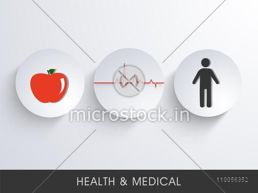 Health and Medical concept with illustration of healthy fruit for human life.