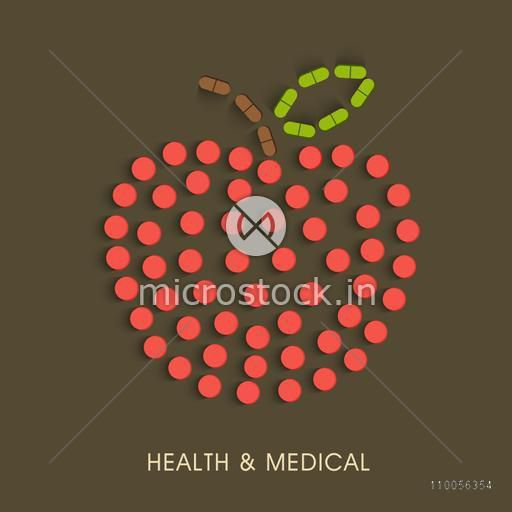 Structure of an apple made by red, brown and green tablets with stylish text.