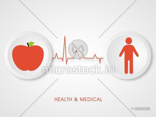 Health and Medical concept with illustration of an apple and human body on grey background.