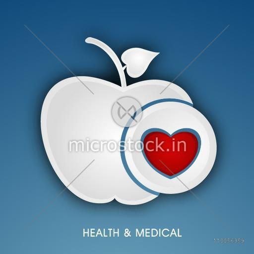Illustration of an apple with red heart and stylish text.
