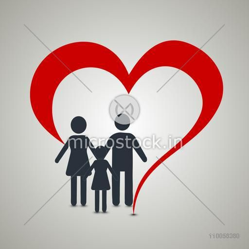 Illustration of a family covered by hypothetical red heart.