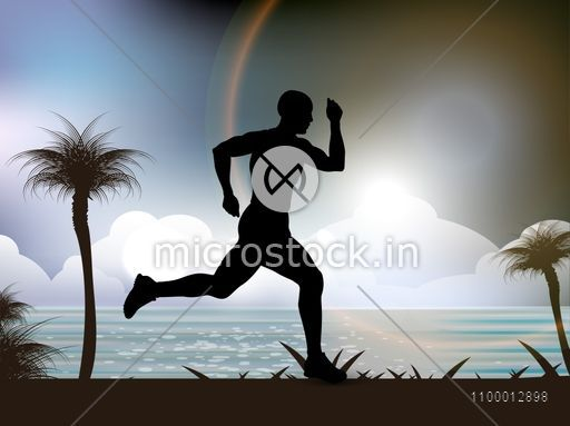 Silhouette of a running man on nature background for Health and Medical concept.