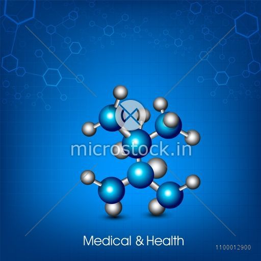 Creative molecules on shiny blue background for Health and Medical concept.