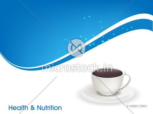 Health & Nutrition concept with cup of herbal tea on abstract background.