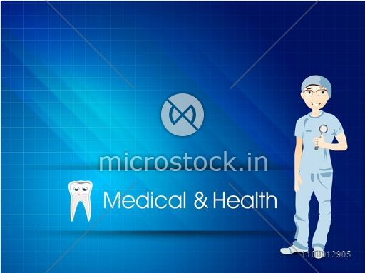 Illustration of a doctor on abstract blue background for Health and Medical concept.