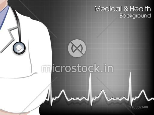 Illustration of a doctor on cardiogram background for Health and Medical concept.