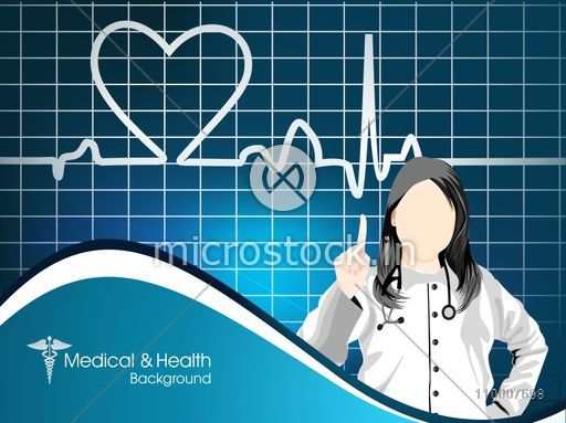 Illustration of a doctor with cardiograph for Health and Medical concept.