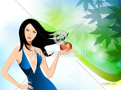 Illustration of a young girl holding apple in her hand for Health and Nutrition concept.