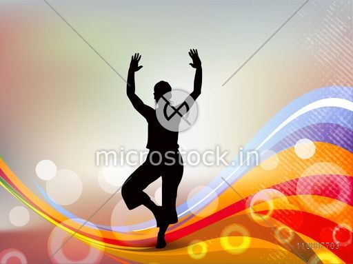 Health and Medical concept with silhouette of a man doing yoga on abstract background.