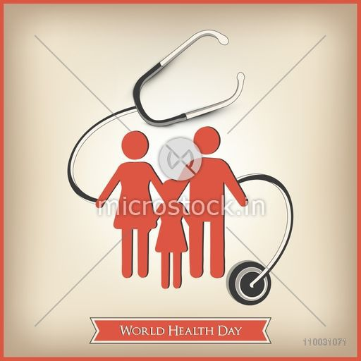 Abstract World Health Day Concept With Healthy Family Under Stethoscope On Brown Background