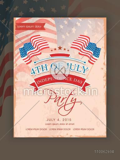 4th of July, Independence Day party celebration invitation card decorated with American national flag .