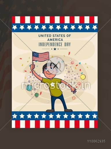 4th of July, Independence Day celebration with cute happy boy holding American national flag on stylish background.