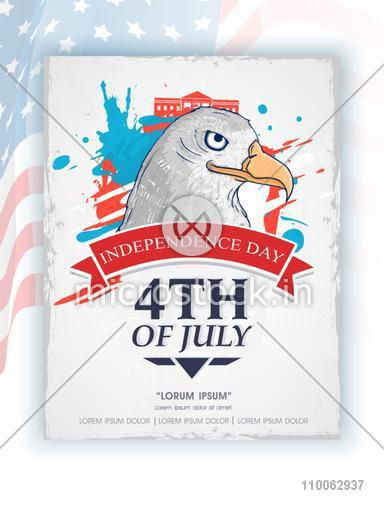 American national bird eagle for 4th of July, Independence Day celebration on famous monuments decorated background.