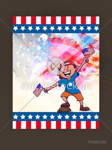 Cute happy boy with flags, celebrating on occasion of American Independence Day on abstract colorful background.
