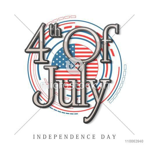 Stylish text 4th of July on national flag color background for American Independence Day celebration.