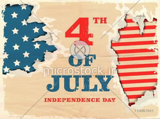 Stylish text 4th of July in American Flag colors on vintage background, Can be used as poster, banner or flyer design for independence day celebration.
