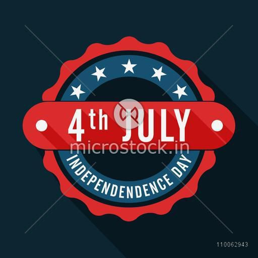 Stylish badge in national flag color on black background for 4th of July, American Independence Day celebration.
