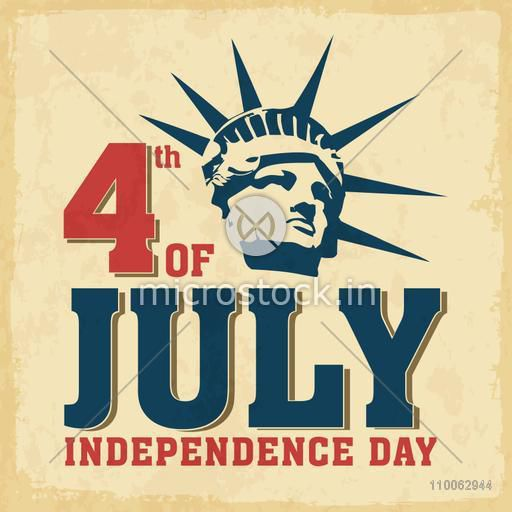 Vintage poster, banner or flyer design with illustration of Statue of Liberty for 4th of July, American Independence Day celebration.