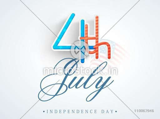 Creative paper text 4th of July on national flag waves background for American Independence Day celebration.