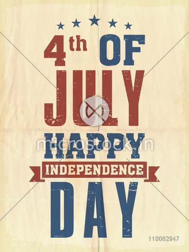 Vintage pamphlet, banner or flyer design with stylish text 4th of July for American Independence Day celebration.