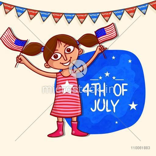 Cute little girl holding national flag and celebrating on occasion of 4th of July, American Independence Day.