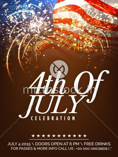 Beautiful invitation card design decorated with fireworks on waving national flag background for 4th of July, American Independence Day celebration.