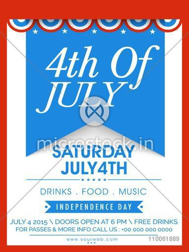 American Independence Day celebration invitation card with stylish text 4th of July.
