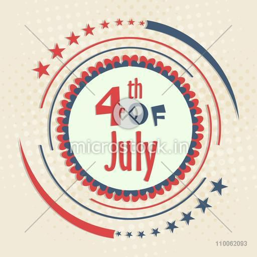 American flag colors badge design for 4th of July, Independence Day celebration.