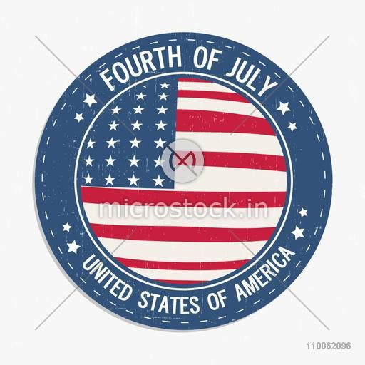 Creative American Flag colors Rubber Stamp design for 4th of July, Independence Day celebration.