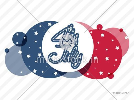 Sticker, tag or label for 4th of July, American Independence Day celebration on abstract national flag color background.
