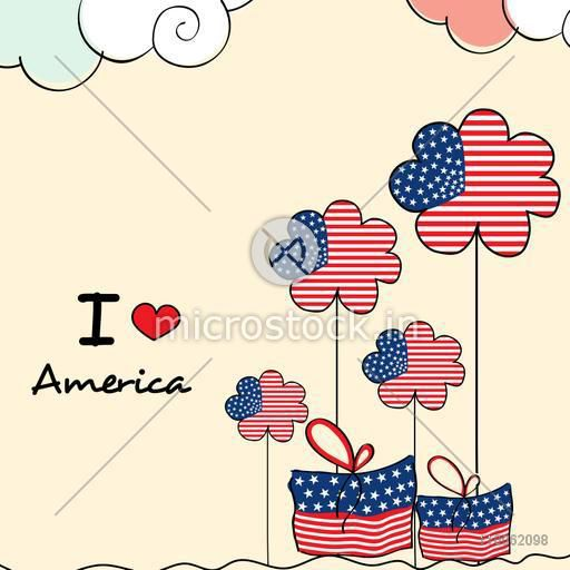 Creative flowers with gifts in American Flag Colors for 4th of July, Independence Day celebration.