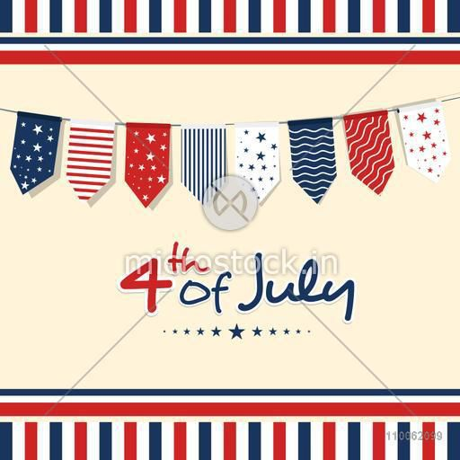 4th of July, American Independence Day celebration greeting card design decorated with buntings in national flag colors.