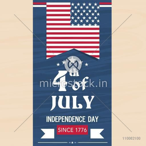 4th of July, American Independence Day celebration flyer, banner or poster with national flag color.