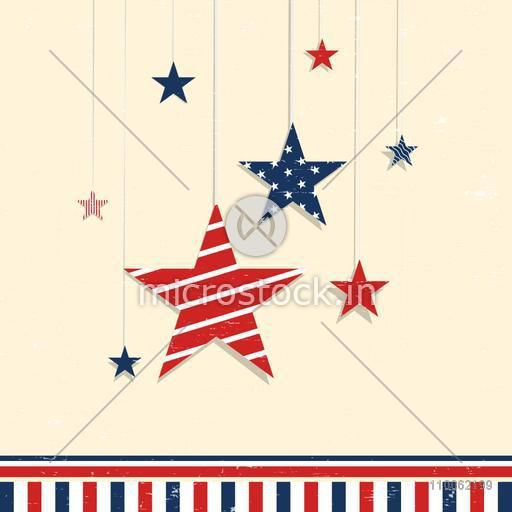 Creative hanging stars in American Flag Colors for 4th of July, Independence Day celebration.