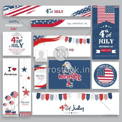 Social Media post, header or banner set in American Flag colors for 4th of July, Independence Day celebration.