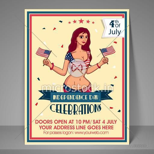 Stylish invitation card design with beautiful young girl holding national flag for 4th of July, American Independence Day celebration.