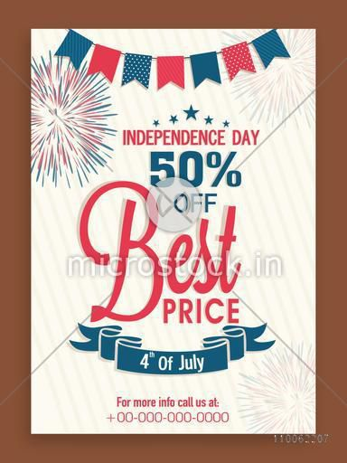 Sale template, flyer or banner with 50% discount offer for 4th of July, American Independence Day celebration.