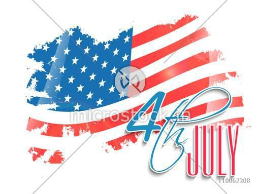 Creative national flag on white background for 4th July, American Independence Day celebration.