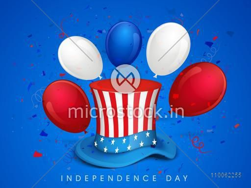 American Flag colors hat with balloons on blue background for 4th of July, Independence Day celebration.