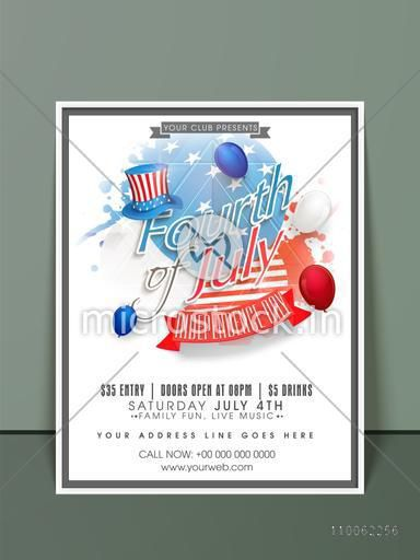 4th of July, American Independence Day celebration invitation card design with national flag color hat, splash and balloons.