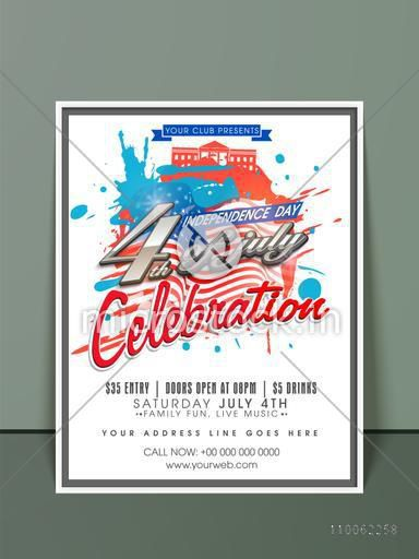 4th of July, American Independence Day celebration invitation card design with national flag color splash.