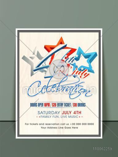 Stylish invitation card with 3D national flag color stars for 4th of July, American Independence Day celebration