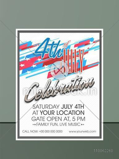 Stylish invitation card design with date, time and place details for 4th of July, American Independence Day celebration.