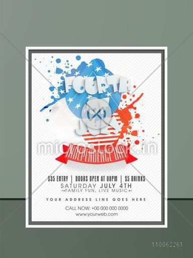 4th of July, American Independence Day celebration invitation card design.
