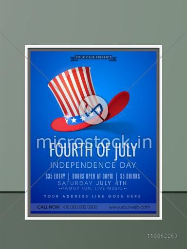 4th of July, American Independence Day celebration invitation card in glossy blue color with hat, date, time and place details.