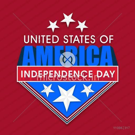 American Independence Day celebration sticker, tag or label design with stylish text United States of America on red background.