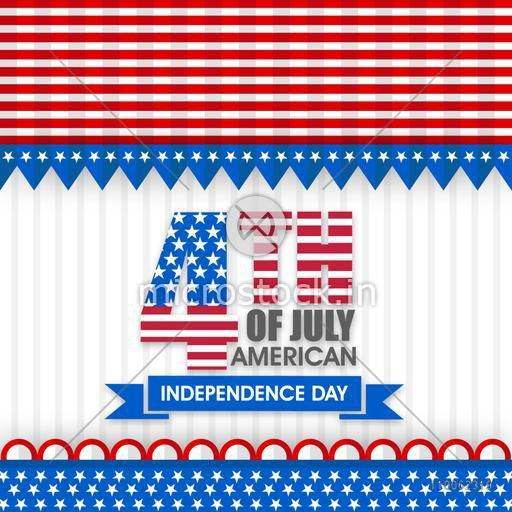 American Independence Day celebration with stylish text 4th of July in national flag colors, can be used as poster, banner or flyer design.